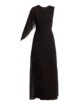 Lanvin Asymmetric draped-sleeve silk-blend gown