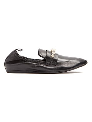 Lanvin Faux-pearl and crystal-embellished leather loafers