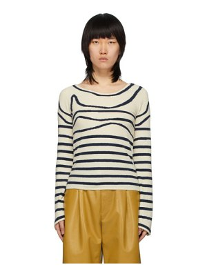 Lanvin off-white and navy large neck striped sweater