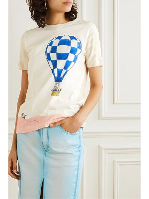 Lanvin paneled printed cotton-jersey t-shirt