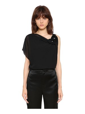 Lanvin Silk georgette top with roses