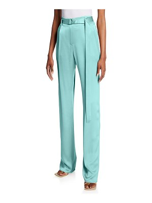 LAPOINTE Belted Wide-Leg Satin Pants
