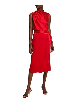 LAPOINTE Draped Satin Belted Dress