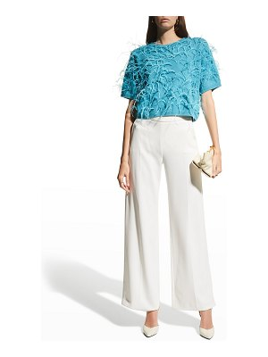 LAPOINTE Feather Embroidered Cashmere Boxy Tee