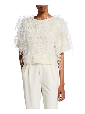 LAPOINTE Feather-Embroidered Cashmere-Silk T-Shirt