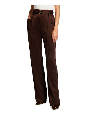 LAPOINTE Satin High-Waist Belted Pants