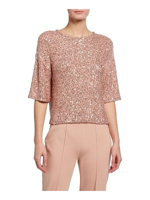 LAPOINTE Sequined Cashmere-Silk Tee
