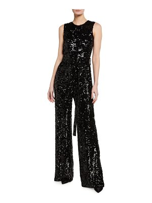 LAPOINTE Sequined Viscose Crewneck Belted Jumpsuit