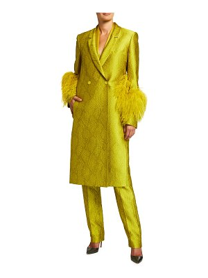 LAPOINTE Snake Jacquard Long Coat with Ostrich Feather Cuffs