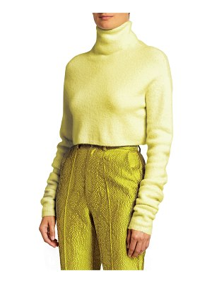 LAPOINTE Wool-Blend Boucle Cropped Turtleneck Sweater