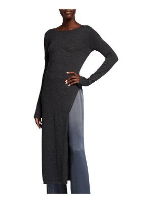 LAPOINTE Wool-Blend Long Side-Slit Tunic Top