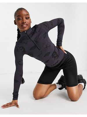 Lapp The Brand lapp faces print seamless zip jacket in charcoal-grey