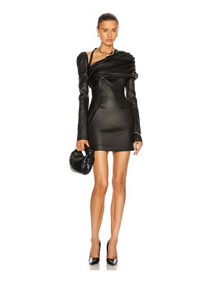 LAQUAN SMITH ruched shoulder leather dress