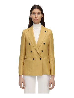 LARDINI Blanca double breast linen & wool blazer
