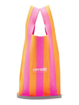 LASTFRAME stripe knitted tote bag