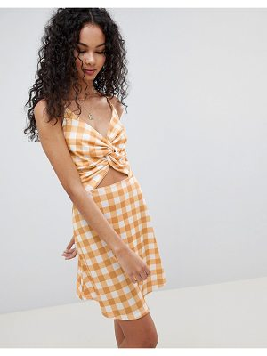 Lasula check tie front cut out dress-yellow
