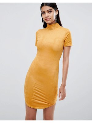 Lasula suedette high neck bodycon dress in yellow