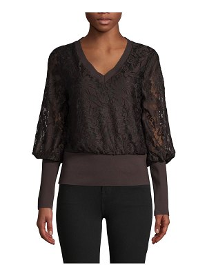 Laundry by Shelli Segal Bishop-Sleeve Lace Top