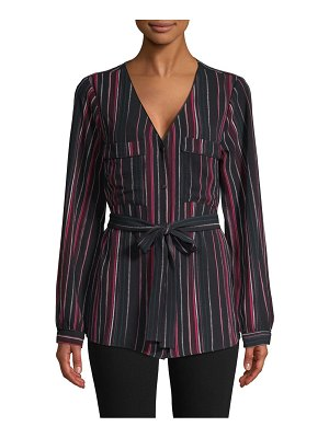 Laundry by Shelli Segal Striped V-Neck Top