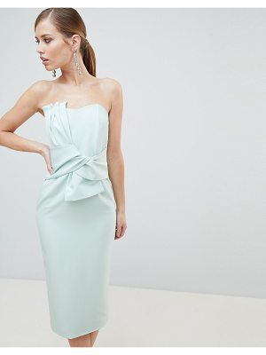 Lavish Alice Bandeau Midi Dress with Bow Detail