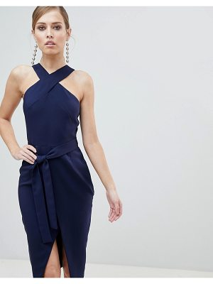 Lavish Alice Cross Front Midi Dress with Wrap Skirt and Tie Waist