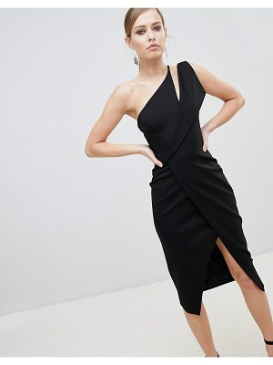 Lavish Alice One Shoulder Midi Wrap Dress