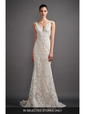 Lazaro lucia mikado & soutache lace trumpet wedding dress