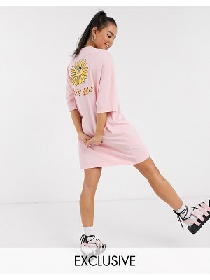 Lazy Oaf oversized t-shirt dress with sunshine graphic-pink
