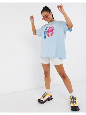 Lazy Oaf oversized t-shirt with eyes graphic-green