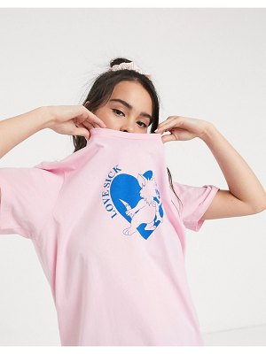 Lazy Oaf oversized t-shirt with love sick graphic-purple