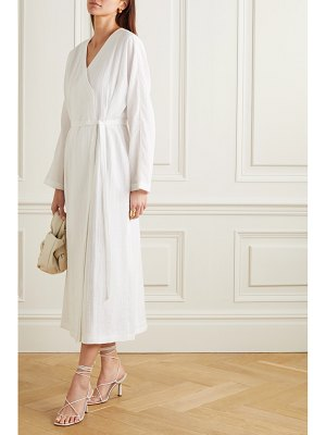 LE 17 SEPTEMBRE belted wrap-effect crinkled habotai midi dress