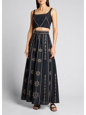 Le Sirenuse Camille Embroidered Maxi Skirt