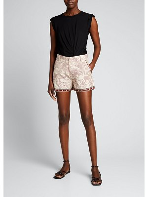 Le Sirenuse Lion and Money Printed Shorts