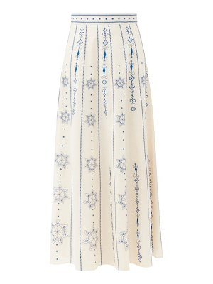 LE SIRENUSE, POSITANO camille palazzina embroidered cotton-voile skirt