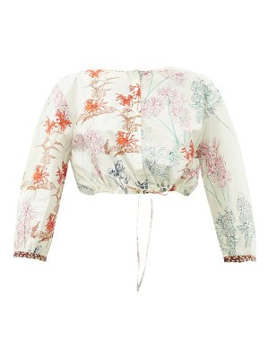 LE SIRENUSE, POSITANO jinny spring flowers-print cotton cropped top