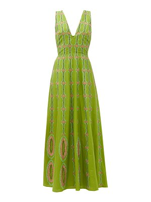 LE SIRENUSE, POSITANO nellie bubble gym-embroidered cotton maxi dress