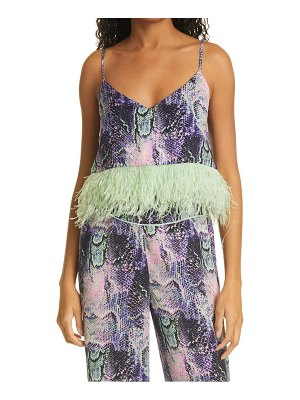 Le Superbe minted feather camisole