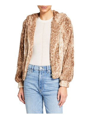 Le Superbe Skater Girl Animal-Print Faux-Fur Hoodie Jacket
