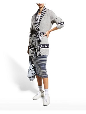 Le Superbe White Caps Belted Cardigan