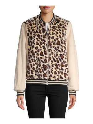 Lea & Viola Plush Animal-Print Bomber Jacket