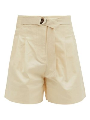 LEE MATHEWS esther belted high-rise cotton-drill shorts
