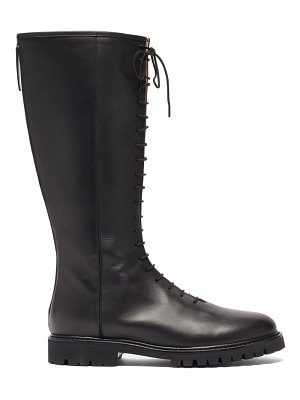 Legres lace-up knee-high leather boots