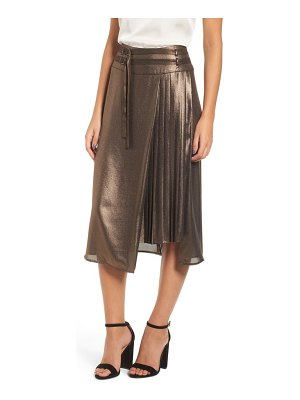 Leith belted pleat front skirt