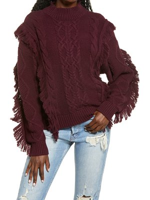 Leith cable knit fringe sweater