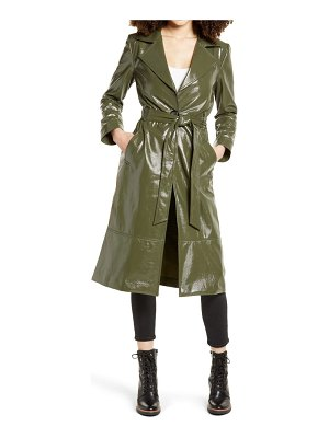 Leith faux patent leather trench coat