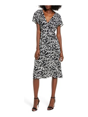 Leith print flutter sleeve wrap dress