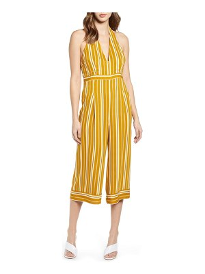 Leith stripe halter top wide leg crop jumpsuit
