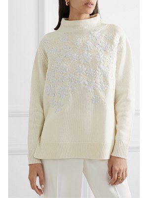 Lela Rose beaded embroidered wool and cashmere-blend sweater