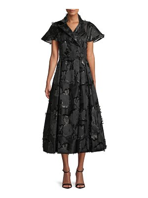 Lela Rose Button-Front Flared-Sleeve A-Line Floral-Embroidered Shirtdress