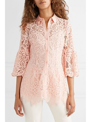 Lela Rose crepe-trimmed corded lace shirt